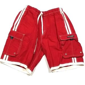 Bum Equipment Shorts Mens Size Large Red And White